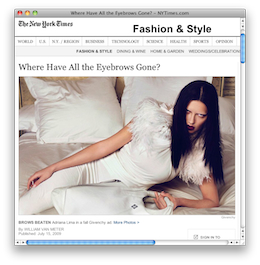 NYTimes.com – Fashion & Style Where Have All the Eyebrows Gone?